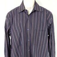 Bugatchi Uomo Dress Casual Shirt Men Size XL Multi-color Button Up Long Sleeve