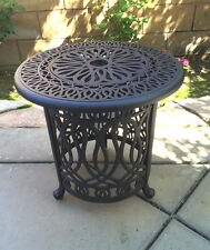 Patio end table cast aluminum Ice bucket insert round Elisabeth side furniture