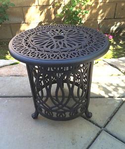Patio end table cast aluminum Ice bucket insert round Elisabeth side furniture