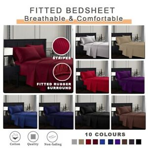 Hotel Quality Luxury Sheet Flat Fitted Stripe Bedsheet Set 860 TC 100% Cotton