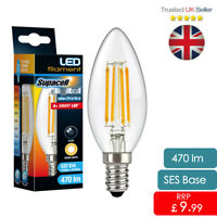 LED Filament Bulb 4w Edison Bulbs E14 candle Light Supacell A+ Rated 40w Replace