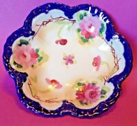 Hand Painted Scalloped Bowl - Blue And Gold Rim - Pink Roses - Nippon Japan