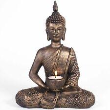 Beautiful Meditating Thai Buddha Tea Light Candle Holder Rustic Gold 27cm Tall