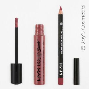 2 NYX Liquid Suede Cream Lipstick 04 Soft Spoken + Slim Lip pencil 828 Ever Set