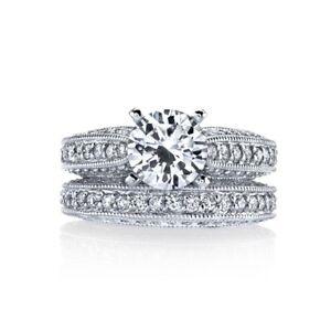 2.68ctw 18K White Gold Designer Gregorio Engagement Semi Mount & Matching Band