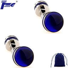 Fashion Cuff Links Blue Enamel Double Round Epoxy Cufflinks With Velvet Bag