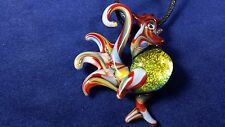Rooster - Glass Pendant Necklace - handmade boro lampwork annealed dichroic