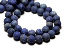 Fil 39cm 90pc env - Perles de Pierre - Lapis Lazuli Mat Sablé Givré Boules 4mm