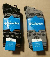 NWT 4 pair total Columbia Fairisle Mens 6-12 Wool Blend Arch Support Crew Socks