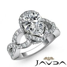 2ct Cross Shank Sidestone Pave Pear Diamond Engagement Ring GIA G-SI1 White Gold