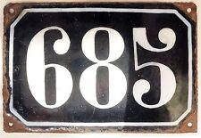 Large old black French house number 685 door gate plate plaque enamel metal sign