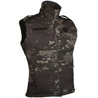 Mil-Tec Soft Shell Vest Sleeveless Combat Tactical Mens Jumper Multitarn Black