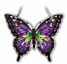 """Purple Swallowtail Butterfly AMIA Sun Catcher Hand Painted Glass 4"""" High New"""