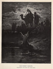 "Religious 1800s Gustave DORE Antique Woodcut ""Jacob's Prayer"" SIGNED Framed COA"