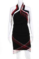 Mini Preen By Thornton Bregazzi Womens Ruched Beaded Sheath Dress Black Size M