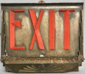 1920's - 30's Antique Cast Iron Art Deco Movie Theater Cinema Hotel Exit Sign