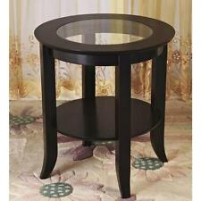 Accent Table End Side Coffee Display Modern Shelf Living Room GlassTop Furniture