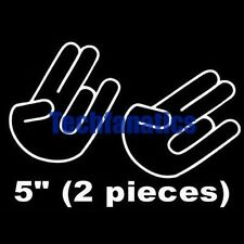 2Pcs JDM SHOCKER HAND Logo Import Car Window Laptop Decal Vinyl Sticker White