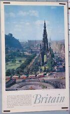 AFFICHE ANCIENNE BRITAIN EDINBURGH - PRINCES STREET circa 1950-60
