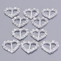 10pcs Heart Clear Crystal Rhinestone Diamante Ribbon Buckles Sliders Craft Decor