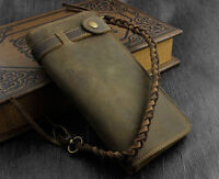 Crazy Horse Leather Long Biker Trucker Wallet With A Purse Chain Anti Theft