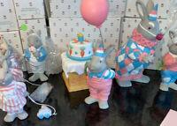Easter Bunny Rabbit Figurine Dept 56 #8 BUNNY CAKE 🎂 & Balloon 🎈 Set ~NEW!
