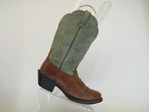 Ariat Green Brown Leather Stockman Cowboy Western Boots Womens Size 7 B