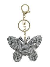 Large Butterfly Clear Sparkling Rhinestone Key Chain Handbag Charm Accessory