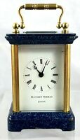 STUNNING MINIATURE MATTHEW NORMAN BLUE ENAMELLED LAPIS LAZULI CARRIAGE CLOCK