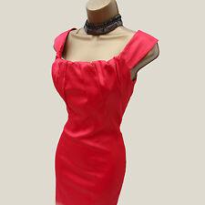 KAREN MILLEN Bardot Pink Satin Folded Bow Neck Cocktail Party Pencil Dress 8 UK