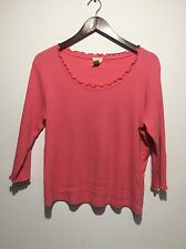 J Jill Women's Large Petite Shirt Long Sleeve Boatneck Pink Made In The USA