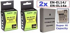 2 Pcs (Qty 2) Hi Capacity EN-EL14a Li-Ion Rechargeable Battery for Nikon Df