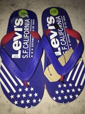 BOYS GIRLS FLIP FLOPS - Uk 1.5 - NEW - OLDER KIDS SIZE - BLUE & WHITE