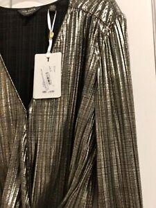 Ted Baker ELWIIRA Gathered detail wrap top RRP £119 Size 2 UK10 Metallic Blouse