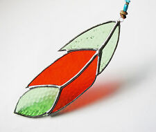 Handmade Stained Glass Bird Feather Suncatcher - Textured - Green & Red Coloured