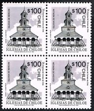 CHILE 1993 STAMP # 1614 MNH BLOCK OF FOUR CHILOE'S CHURCH HERITAGE