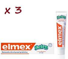 3 x Elmex Toothpaste Junior  6-12 years 75 ml  JUST £8.38