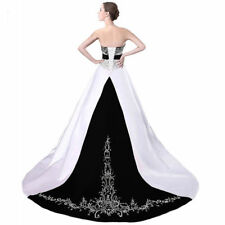 Vintage A Line Strapless Bead Embroidery White Purple Bridal Gown Wedding Dress