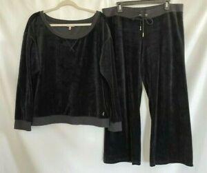 Juicy Couture Womens Velvet Sweatshirt Set Brown Crew Neck Drawstring Waist XL