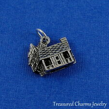 Silver Cabin Cottage Charm - Rustic Camping Outdoors 3D Pendant NEW