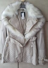 River Island Petite white  faux fur collar biker jacket size 12