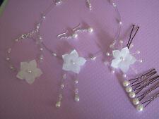 Parure fleur Bijou Blanc robe d Mariée/Mariage perle collier bracelet pas cher