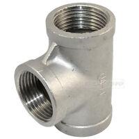 """Tee 1"""" 3 way Female NPT 304 Stainless Steel Pipe fitting threaded Biodiesel NPT"""