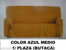 Funda sillon / sofa / butaca 1 / PLAZA modelo lazos NUEVA color azul medio