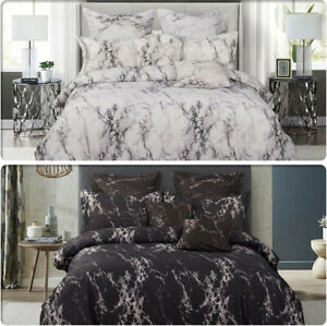 Marble White/Black Duvet/Doona/Quilt Cover Set - Queen/King/Super King Size Bed
