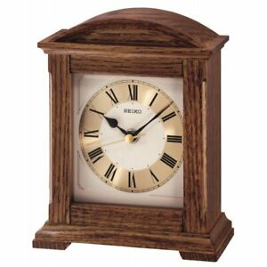 Seiko Dark Wooden Oak Finish Quartz Battery Mantel Clock, Roman Numerals QXG123B