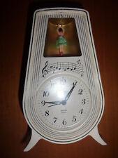 Raro orologio sveglia vintage ballerina bachelite color avorio alarm clock dance