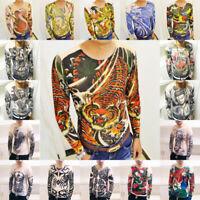 Men Fashion T-Shirts Long Sleeve Slim Tattoo Printing Shirt O-Neck Undershirt