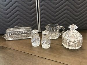 CRYSTAL BUTTER DISH WITH LID-SUGAR/CREAMER-SALT AND PEPPER SHAKERS