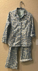 Nick & Nora Blue Animal Print Snake 2PC Cotton Pajamas Size Large w roll tabs